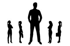 Vector silhouetteof a big man and four small women near him royalty free stock photography