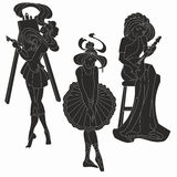 Vector silhouettes of art women. Artist musician. Vector silhouettes of art lady. Artist musician ballerina. Muses art Royalty Free Stock Photo