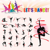 Vector silhouettes of artistic gymnastics. With ball and ribbon Royalty Free Stock Photo