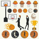 Vector silhouettes of basketball Stock Images