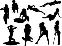 Vector  silhouettes of beautiful women on white background Royalty Free Stock Photography