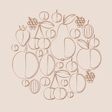 Vector silhouettes of berries and fruits in natural colors. Royalty Free Stock Photos