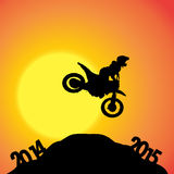 Vector silhouettes of biker. Royalty Free Stock Image