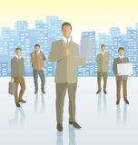 Vector silhouettes of business people Stock Images