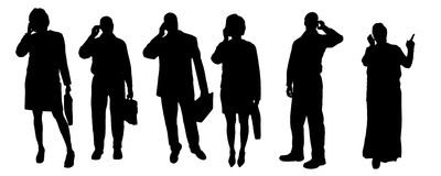 Vector silhouettes of business people. Stock Photo