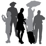 Vector silhouettes of business people. Royalty Free Stock Photo