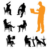 Vector silhouettes of business people. Royalty Free Stock Photos
