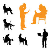 Vector silhouettes of business people. Royalty Free Stock Photography