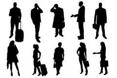 Vector silhouettes of business people. Stock Images