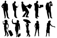 Vector silhouettes of business people. Royalty Free Stock Image