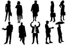 Vector silhouettes of business people. Royalty Free Stock Images