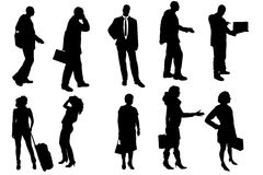 Vector silhouettes of business people. Stock Photos