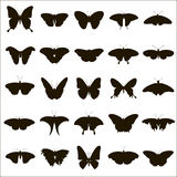 25 vector silhouettes of butterflies. 25 black vector silhouette butterfly on white background Royalty Free Stock Photo