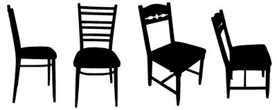 Vector silhouettes of chairs. Royalty Free Stock Image