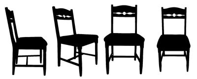 Vector silhouettes of chairs. Royalty Free Stock Photography