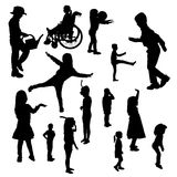 Vector silhouettes of children. Stock Photos