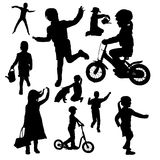 Vector silhouettes of children. Stock Images