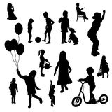 Vector silhouettes of children. Royalty Free Stock Image