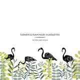 Vector silhouettes collection. Set of field flowers, herb and flamingos. Card design vector illustration