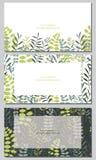 Set of field herbs, flowers. Set of visiting card design royalty free illustration