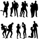 Vector silhouettes of couple. Life steps Royalty Free Stock Photography