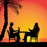 Vector silhouettes of couple. Vector silhouettes of couple sitting at the table Royalty Free Stock Photography