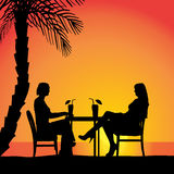 Vector silhouettes of couple. Vector silhouettes of couple sitting at the table Royalty Free Stock Images