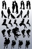 Vector silhouettes of couples, single women, dogs royalty free illustration