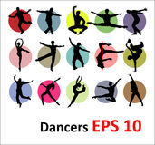 Vector silhouettes of dancers Royalty Free Stock Photography