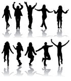 Vector silhouettes dancing man and women Stock Images