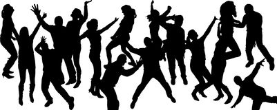 Vector silhouettes of dancing people. Royalty Free Stock Image