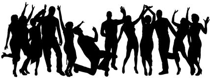 Vector silhouettes of dancing people. Stock Image