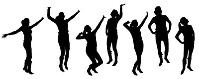 Vector silhouettes of dancing people. Royalty Free Stock Photography