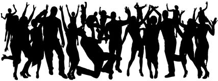 Vector silhouettes of dancing people. Vector silhouette dancing and entertainers with people Stock Images