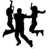 Vector silhouettes of dancing people. Royalty Free Stock Photo