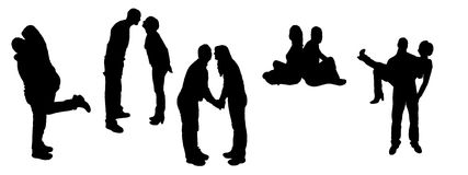Vector silhouettes of dancing people. Royalty Free Stock Photos