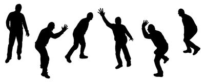 Vector silhouettes of dancing people. Royalty Free Stock Images