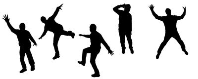 Vector silhouettes of dancing people. Vector silhouette dancing and entertainers with people Stock Image