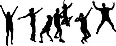 Vector silhouettes of dancing people. Vector silhouette dancing and entertainers with people Stock Photo