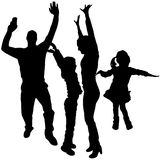 Vector silhouettes of dancing people. Vector silhouette dancing and entertainers with people Royalty Free Stock Images