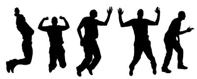Vector silhouettes of dancing people. Vector silhouette dancing and entertainers with people Royalty Free Stock Photos