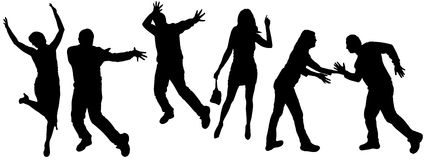 Vector silhouettes of dancing people. Vector silhouette dancing and entertainers with people Stock Photos