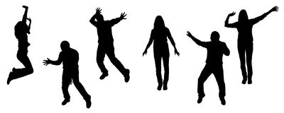 Vector silhouettes of dancing people. Vector silhouette dancing and entertainers with people Royalty Free Stock Photography
