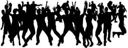 Vector silhouettes of dancing people. Stock Images