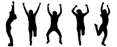 Vector silhouettes of dancing people. Stock Photo