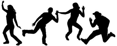 Vector silhouettes of dancing people. Vector silhouette dancing and entertainers with people Royalty Free Stock Photo