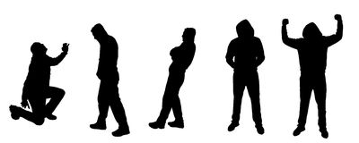 Vector silhouettes of dancing people. Vector silhouette dancing and entertainers with people Royalty Free Stock Image