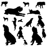 Vector silhouettes of different dogs. Royalty Free Stock Photo