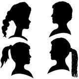 Vector silhouettes of different faces. Stock Photography