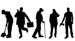 Vector silhouettes of different men. Stock Photography